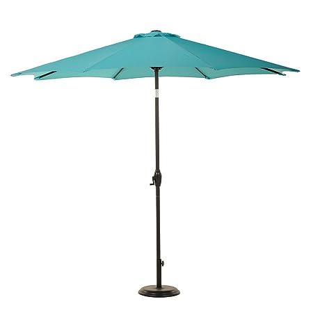 9 Ft Outdoor Aluminum Market Umbrella with Auto Tilt and Crank, 8 Ribs, Blue