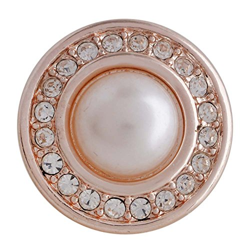 Charm Simulated Pearl (Snap Charm Rose Gold Swirl Simulated Pearl Center Circle of Clear Crystals 20mm Standard Size 3/4