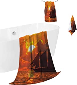 prunushome Luxury Bath Towel Set Sailboat Yoga Towels Sunset in Key Florida Suitable for Camping, Backpacking, Beach 3 Piece Towels Set (Bath Towels,Hand Towels,Washcloths)
