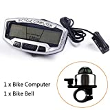 ezyoutdoor Digital Bike Cycle Computer for bicycle with Led Backlight, speedometer odometer with Free Mount for Outdoor Sports Riding Cycling with Compass Bell