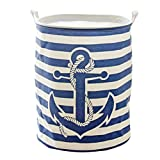 Fieans Collapsible Laundry Basket Home Washing Storage Bins Large Fabric Nursery Hamper for Kids Toys, Dirty Clothes - Stripe&Anchor, Navy Blue
