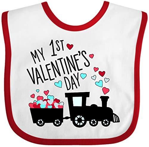 Inktastic - My First Valentines Day- train Baby Bib White/Red 33aca