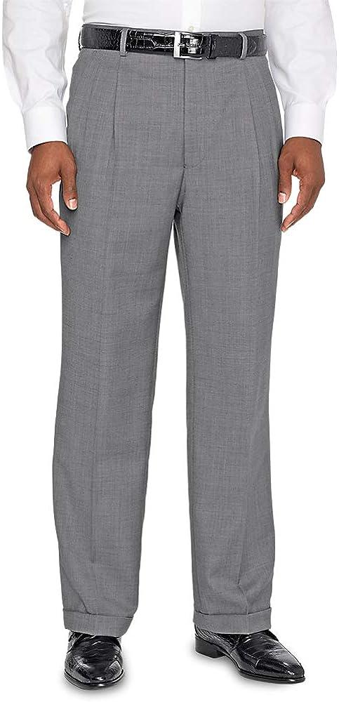 Paul Fredrick Mens Super 120s Sharkskin Pleated Suit Pants