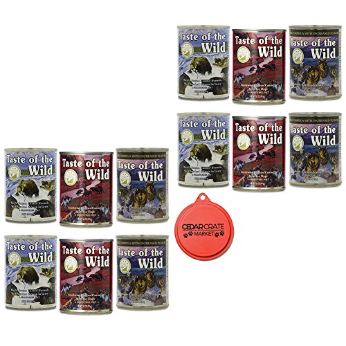 Taste of the Wild Canned Dog Food Variety Bundle - 12 Pack (3 Flavors, 13.2 oz Cans) with Can Topper