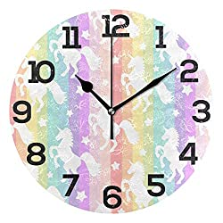 Dozili Colorful Unicorn Round Wall Clock Arabic Numerals Design Non Ticking Wall Clock Large for Bedrooms,Living Room,Bathroom