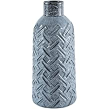Amazon Brand – Stone & Beam Modern Crosshatch Home Decor Flower Vase - 11 Inch, Blue