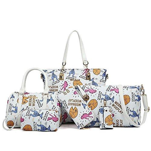 Luxurylady #58 Five-pieces Elegant Noble Design Multifunction Tote Cross Body Bag For Women(c4)