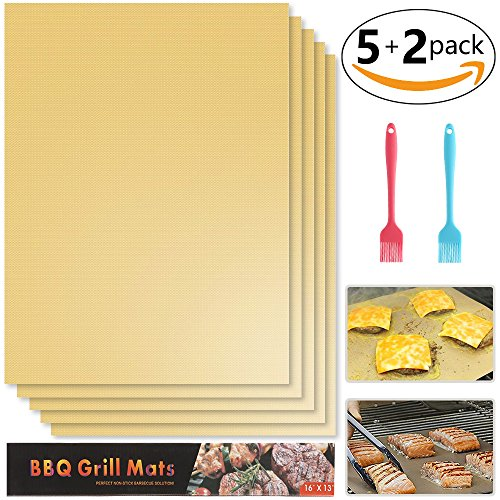 Premium Grilling Mat Set of 5, HEMRLY Non Stick Copper Grill Mats Reusable BBQ Grill Mats - Dishwasher Safe, FDA Approved, Safe for Gas, Charcoal, Electric Grill - 16