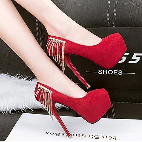 d05d126375338 SDKIR-Super High Heel Shoes Fringe Cadenas Bien Merchandiser Zapatos De  Gamuza La Primavera Y