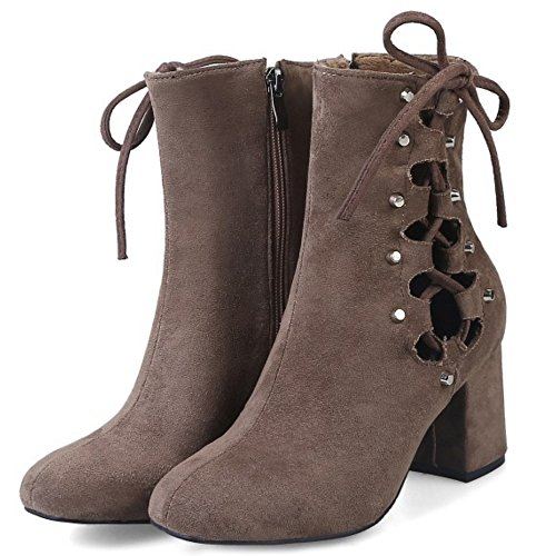 COOLCEPT Damen Western Hoch Blockabsatz Stiefel Zipper With Cut Out Coffee
