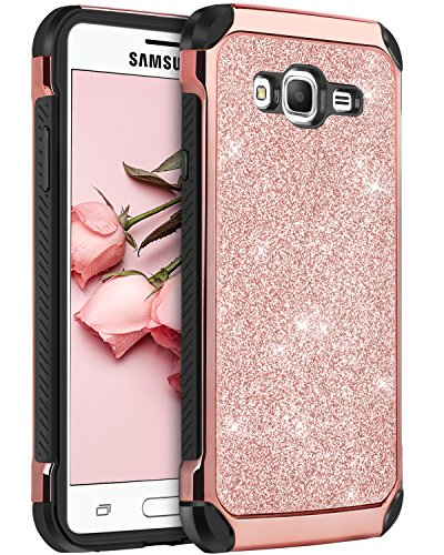 Galaxy J3 Case, J3 Case, Express Prime Case, Amp Prime Case, BENTOBEN 2 in 1 Glitter Bling Hybrid Hard Cover Sparkly Shiny Faux Leather Shockproof Protective Case for Samsung Galaxy J3/J320, Rose Gold