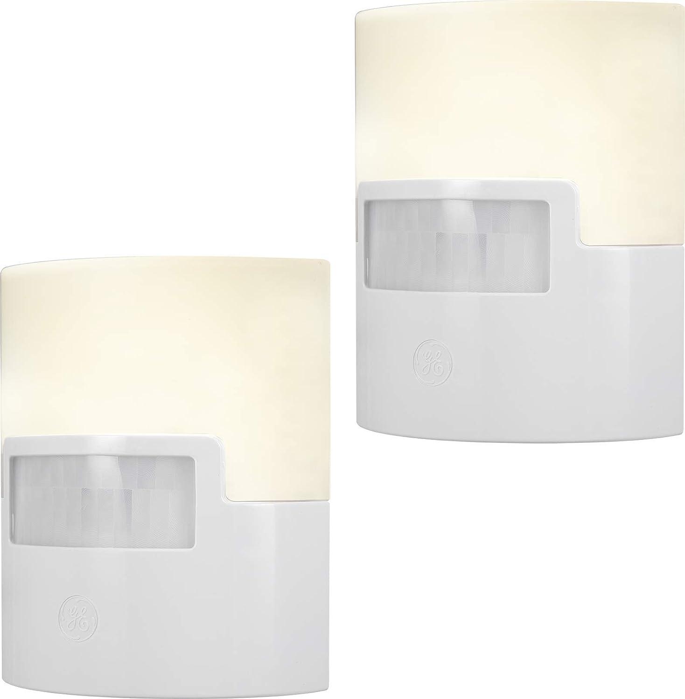 GE Ultrabrite LED Night Light, 2 Pack, Motion Sensor, Plug-in, 40 Lumens, Soft, UL Listed, Ideal for Bedroom, Nursery, Bathroom, Kitchen, Hallway, White, 46632
