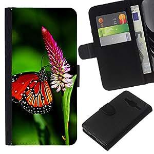 All Phone Most Case / Oferta Especial Cáscara Funda de cuero Monedero Cubierta de proteccion Caso / Wallet Case for Samsung Galaxy Core Prime // Butterfly Spring Flying Wings Green Nature