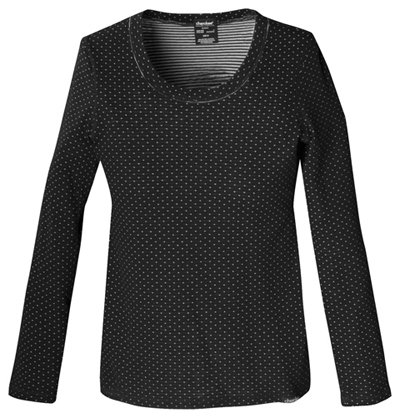 Flexibles by Cherokee Women's Reversible Flex-Stretch Knit Solid Scrub Top X-Large Black