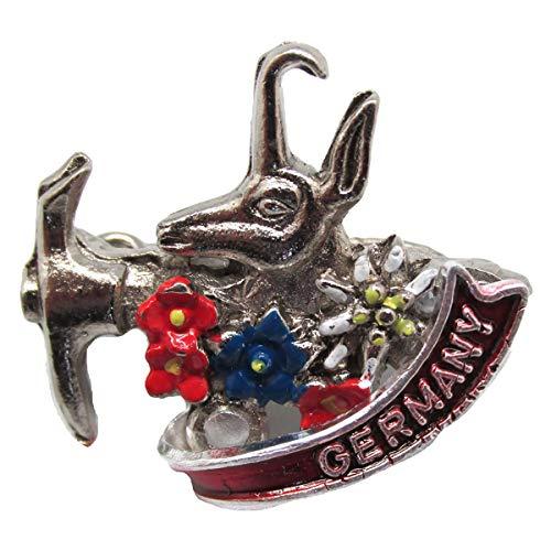 Oktoberfest German Hat Pin by E.H.G | Metal Deluxe Alpine Axe & Goat | Germany Banner