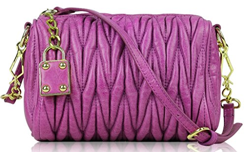 Lush Leather Lambskin Ruched Lock Quilted Purse Magenta Purple Bag (Ruched Leather Bag)