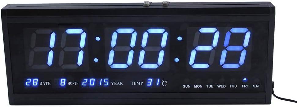 Reloj de pared LED, reloj decorativo digital electrónico, reloj de temporizador colgante montado en la pared de grandes dígitos con temperatura de calendario, reloj despertador de escritorio para el h
