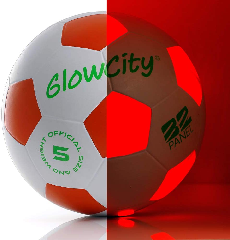 Light Up-Soccer Ball Size 5|Glow in The Dark|Official Size and Weight|Uses 2 Hi-Bright LED Lights|Perfect for A Night Match in The Dark or Kickball League-Spare Batteries Included: Toys & Games