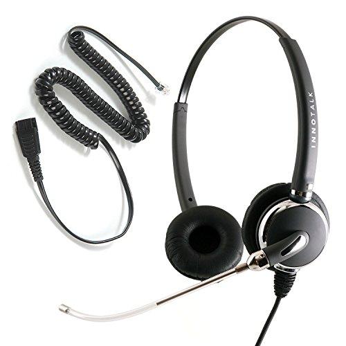 InnoTalk Headset for Avaya Nortel Phone 1120e, 1230, M3903, M7208, M7324, T7324 Voice Tube Pro Binaural Headset + RJ9 Headset Adapter as Office Headset - Gn Netcom Consumer Headphones