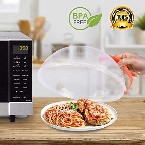Microwave Plate Cover, Anti-Splatter Plate Lid with Steam Vents & Handle Microwave Food Cover, Food-Grade PP Material BPA-Free 2 Pack by Homich (Image #1)