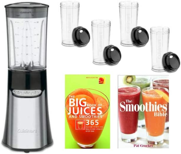 Cuisinart CPB-300 SmartPower Compact Portable Blending/Chopping System with Four Travel Cups and 2x Recipe Books Bundle (4 Items)
