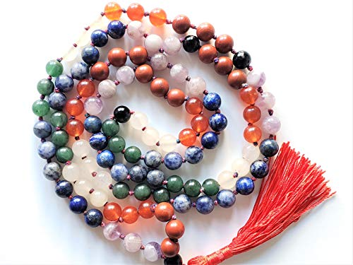 Bliss Creation Brings Mala Necklace | 108+1 Hand-Knotted 8mm Gemstone Round Beads, Antiqued Guru and Counter Beads, Meditation, Healing, Yoga and Beauty(Seven Chakra)