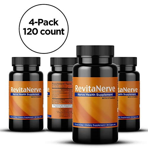 Neuropathy Pain Relief, Once-per-Day, Nerve Revitalizing Supplement Protect and Regenerate Nerves (4 Bottles 120 Count)