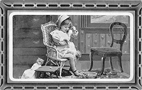 People and Children Photographed on Postcard, Old Vintage Antique Post Card The Little Mother Girl with baby dolls Unused
