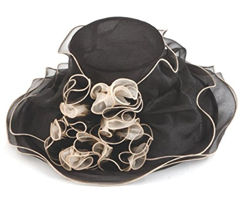 Lady Lou Two Tone Organza Derby Hat with Ruffles, Black with Champagne