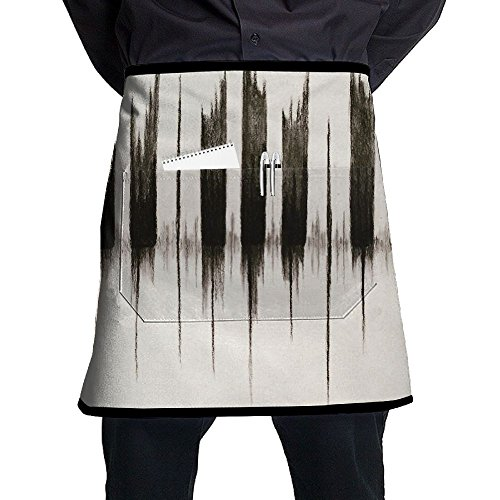 Piano Keys Sound Waves Home Cooking Kitchen Half Body Waist Aprons Sewing Pocket Apron ()