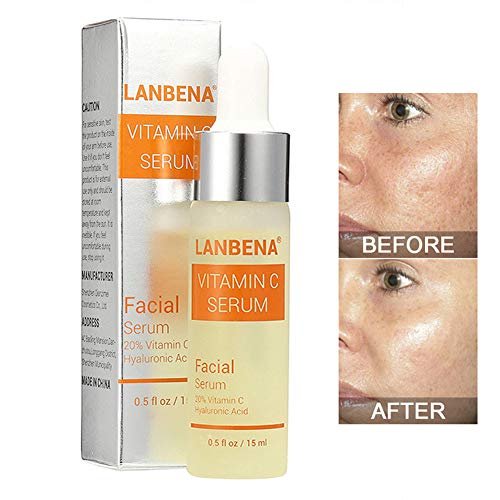 Vitamin C Serum - LANBENA Whitening Serum with Hyaluronic Acid Face Essence Cream Natural Ingredients for Repairing Fades Age Sports and Sun Damaged Skin 15ml
