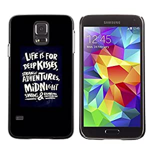 LECELL--Funda protectora / Cubierta / Piel For Samsung Galaxy S5 SM-G900 -- Life Kisses Love Quote Black Poster Dare --