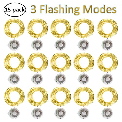 Starry String Fairy Lights 3 Flashing Mode Firefly Lights with Timer,20 Micro LED on 7.2feet/2m Silver Copper Wire Battery Powered for DIY Wedding Party Centerpiece Decorations Pack of 15 - Warm White (With Battery Led String Operated Timer Lights)