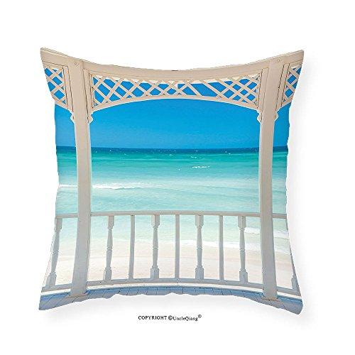 VROSELV Custom Cotton Linen Pillowcase Coastal Decor Romantic Wooden Terrace with View of Tropical Beach in Cuba Pavilion for Bedroom Living Room Dorm White Aqua Blue - Denver Stores Pavilions