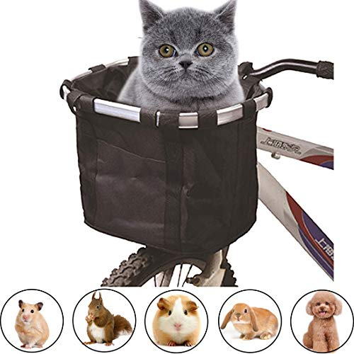 Pet Dog Travel Bike Basket 2-in-1 Dog Bicycle Carrier Cat Soft Sided Carrier Pet Easy Install Detachable Cycling Bag for Hamster Guinea Pig Rabbit and Other Small Animal