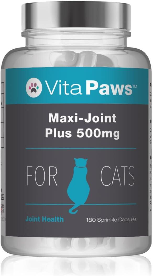Maxi-Joint Plus 500mg para Gatos - ¡Bote para 6 meses! - 180 Cápsulas - VitaPaws: Amazon.es: Salud y cuidado personal
