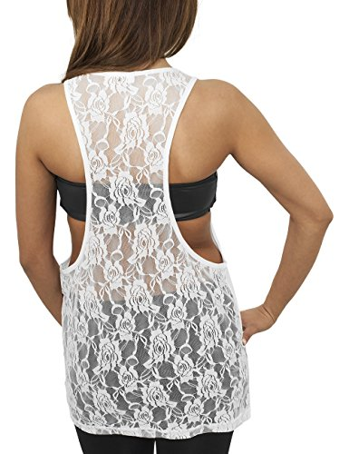 Urban Classics Ladies Flower Laces Loose Tank, Camiseta Sin Mangas Para Mujer Blanco (white 220)