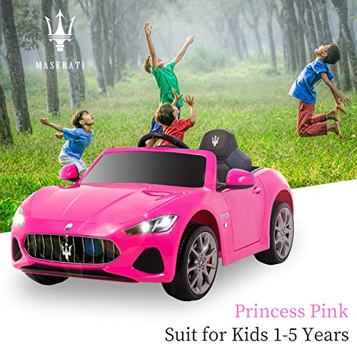 Uenjoy Maserati Grancabrio 12V Electric Kids Ride On Cars Motorized Vehicles for Girls W/Remote Control, Wheels Suspension, Mp3 Player, Light, Pink by Uenjoy (Image #2)