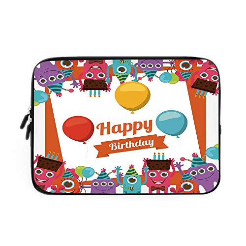 Birthday Decorations Laptop Sleeve Bag,Neoprene Sleeve Case/Funny Happy Monsters Holding Chocolate Cakes Party Horns Kids Room/for Apple MacBook Air Samsung Google Acer HP DELL Lenovo AsusMul