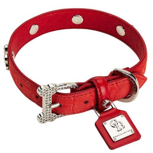 Chrome Bones Vintage LTD Pet Collar, Medium, Red