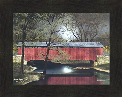Warm Summer's Eve by Billy Jacobs 16x20 Red Covered Bridge Night Full Moon Reflection River Stream Primitive Folk Art Framed Picture (2