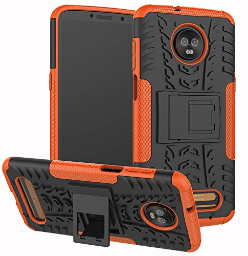 Moto Z3 Case, Moto Z3 Play Case, Yiakeng Dual Layer Shockproof Wallet Slim Protective with Kickstand Hard Phone Case Cover for Motorola Moto Z3 (Orange)