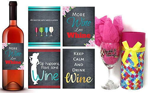 Uncork and Unwind Wine Glass and Wine Labels Set, Wine Lovers Gift Set with Gift Cylinder Box, Funny Sayings Wine Glasses, Holidays Gift Set, Birthday Gift Ideas -