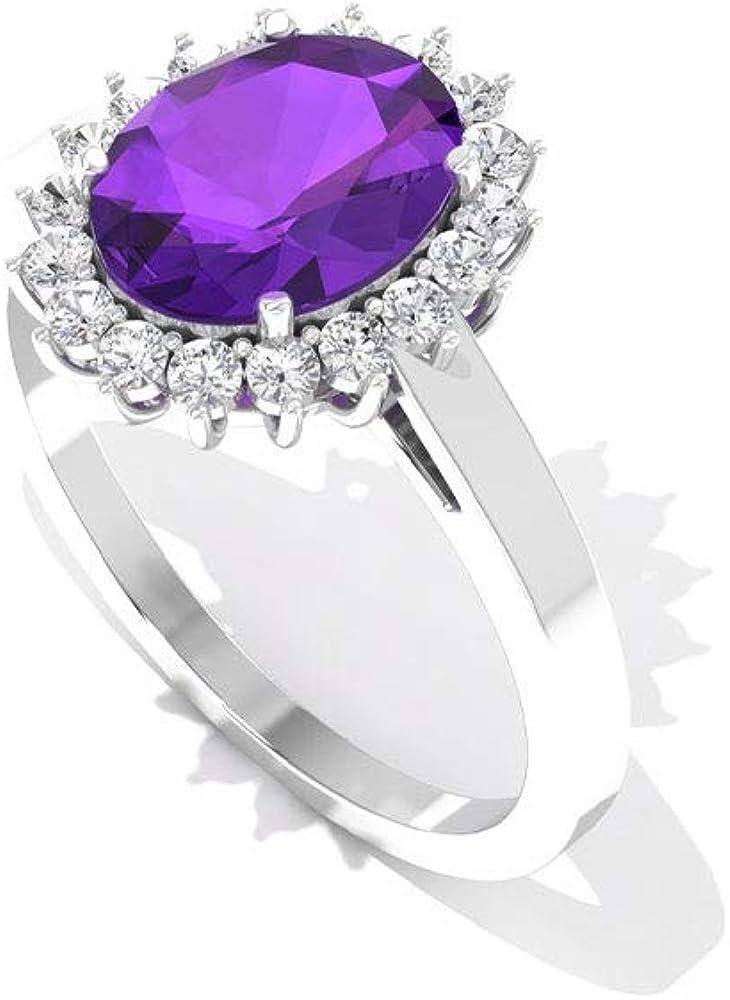 Anillo de diamante de amatista de 1,75 quilates certificado IGI, anillo de boda de piedra preciosa ovalada natural, anillo de oro de diamantes de claridad de color IJ-SI, anillo de compromiso de halo