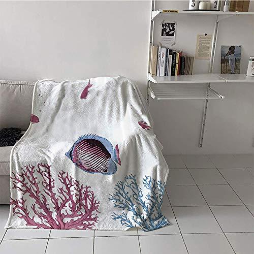 Khaki home Children's Blanket Convenience All Season Blanket (60 by 70 Inch,Coral,Illustration of Tropical Fish Sea Plants Aquarium Oceanic Wildlife Under The Sea,Light Blue Pink