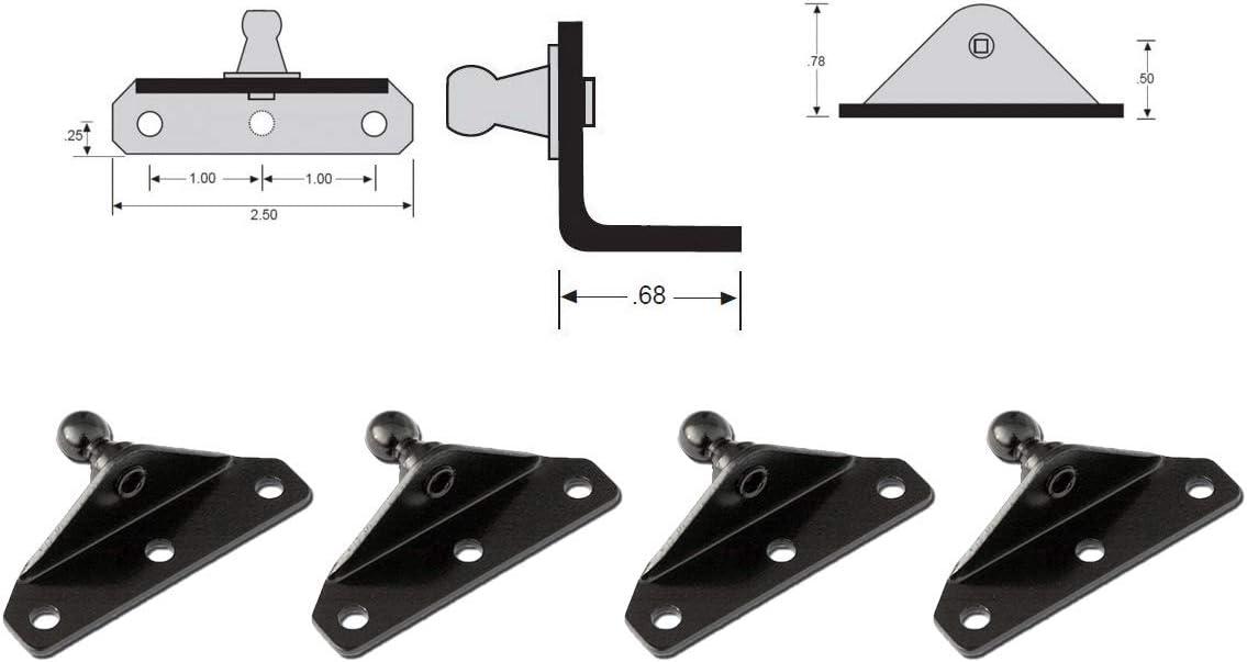 X AUTOHAUX 4pcs 10mm Car Ball Studs Mounting Brackets Black for Gas Struts Shocks 62x27x21mm