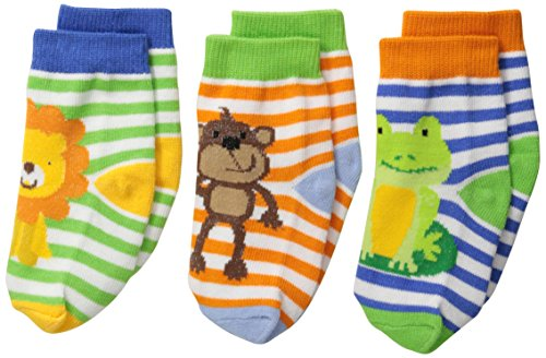 Jefferies Socks Baby Boys' Jungle Lion Monkey Frog 3 Pair Pack Socks, Multi, Infant