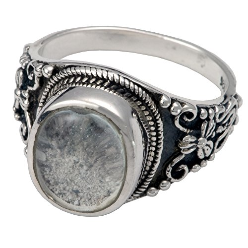 Cremation Memorial Jewelry Sterling Silver Glass Front Ring-Size 8