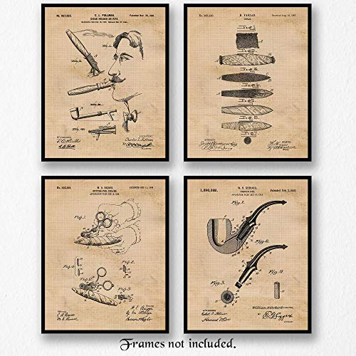 Original Cigars and Pipe Patent Art Poster Prints- Set of 4 (Four 8x10) Unframed Photos- Great Wall Art Decor Gifts Under $20 for Home, Office, Garage, Man Cave, Tobacco Shop, - Light Cigars