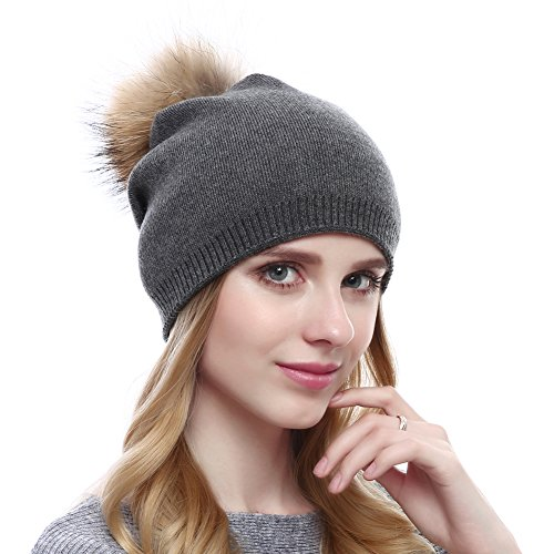 Women Knit Wool Beanie - Winter Solid Cashmere Ski Hats Real Raccoon Fur Pom Pom (Drak Grey)
